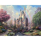 Paint by Numbers Kits DIY Oil Painting Home Decor Wall Value Gift- Rainbow Castle 16X20 Inch (No Frame)