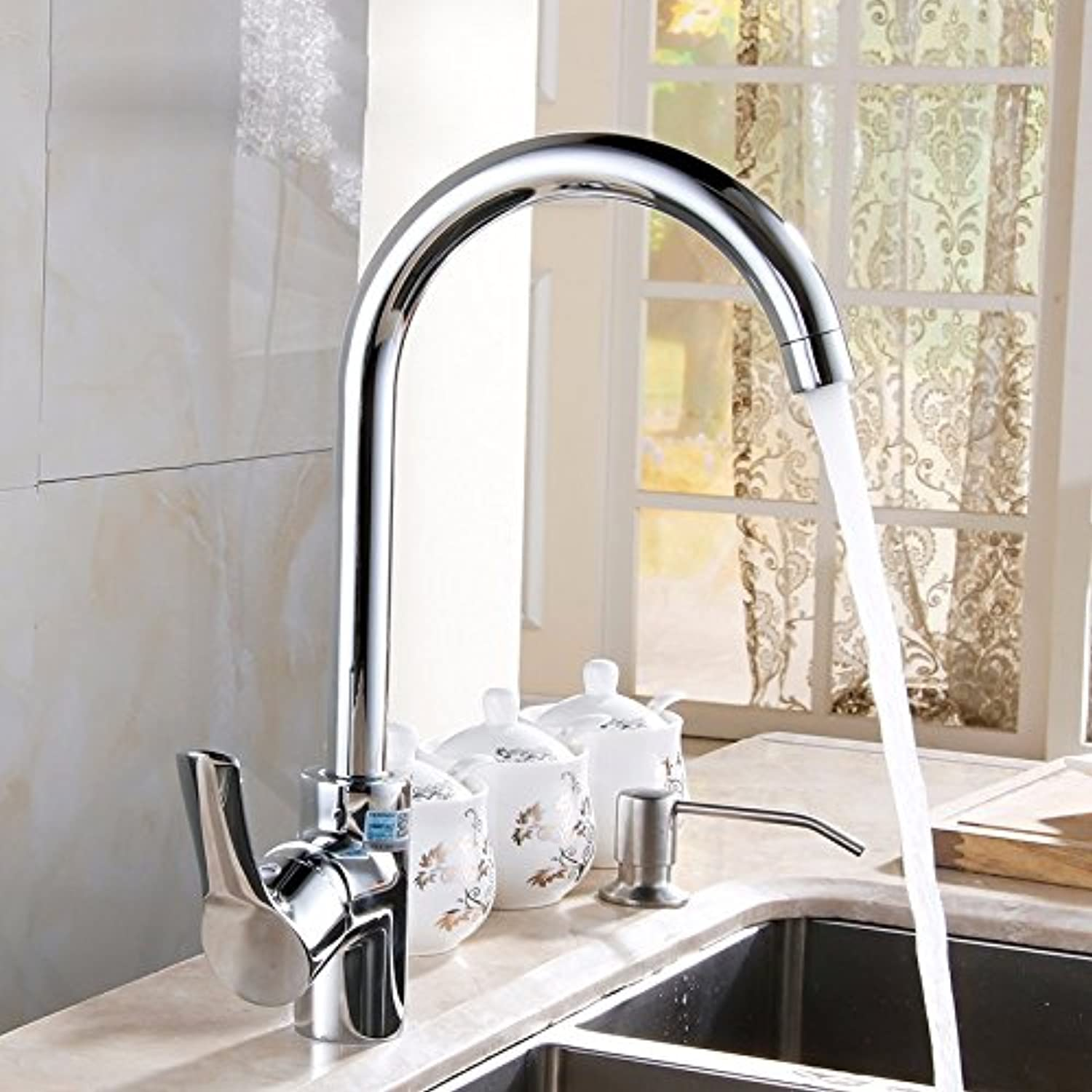 Commercial Single Lever Pull Down Kitchen Sink Faucet Brass Constructed Polished Copper Hot and Cold Sink Faucet, Sink Kitchen Faucet, redating Laundry Pool Faucet, Single Handle Single Hole Faucet