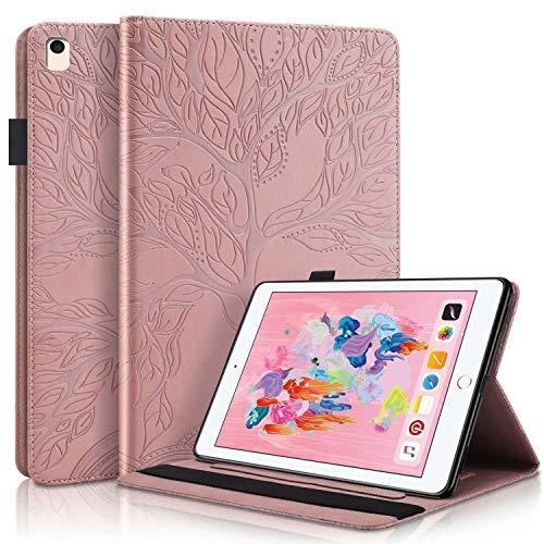 TTNAO Funda Folio para Compatible con iPad 9.7-Inch (2018/2017 Model, 6th/5th Gen), Estuche Plegable Estuche Tipo Billetera Arbol Vida PU Ranura para Tarjetas Anticolisión-Oro Rosa