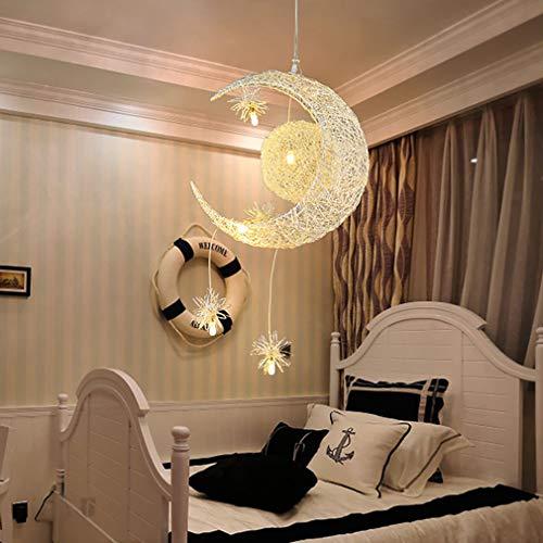 YUNZI Luna Sta LED Luz De Techo Colgante Regulable Dormitorio Niños Decoración del Hogar Lámpara De Techo para Sala De Estar Salón Pasillo Comedor Elegante Luz Colgante,Dimmable
