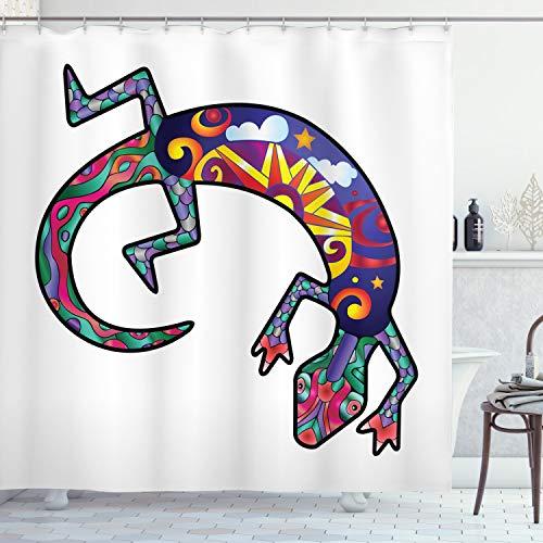 ABAKUHAUS Gecko Duschvorhang, Indianische Eidechsen, mit 12 Ringe Set Wasserdicht Stielvoll Modern Farbfest & Schimmel Resistent, 175x240 cm, Mehrfarbig