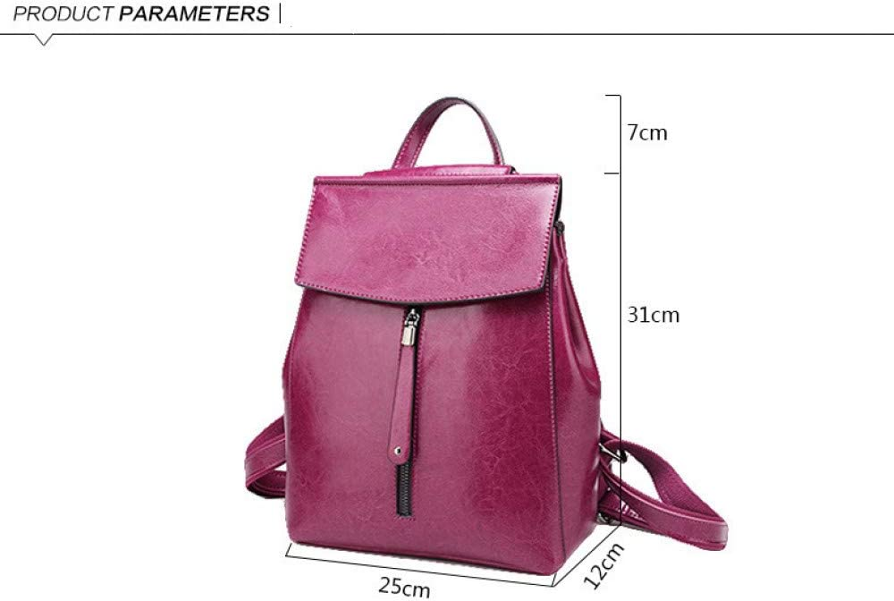 SST 2020 New Handbags European and American Fashion Leather Retro Backpack Oil Wax Leather Backpack Trendy School Bag-Rose Red