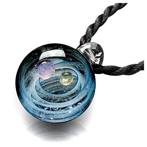 Jovivi Schmuck Damen 3D Kugel Lampwork Glas Anhänger Halskette Universum Galaxie Nebel Planet Pendant mit 2 Ketten