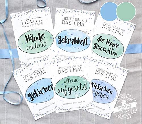 27 Meilenstein-Karten, Milestones erstes Baby-Jahr in Tasche, erste Schritte, Junge blau deutsch