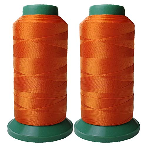 Polyester Thread Heavy Duty Bonded UV Resistant High Strength Outdoor Thread #69 T70 Size 210D/3Ply for Upholstery, Outdoor Market, Drapery, Leather, Beading, Crafts, 3000Yards Set of 2 (Orange)