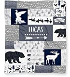 Duck Hunting Baby Blanket for Boys, Personalized Ducks, Deer and Bears Woodland Silky Soft Velveteen Minky Fleece (30' x 40', Arrows on Back)