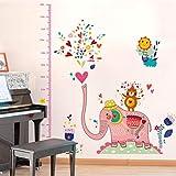 Guooe Stickers Muraux Enfants Toise Murale Enfant, 2018 Nouveau Rose Grand Éléphant Jouer Eau Animaux Zoo Autocollants Muraux...