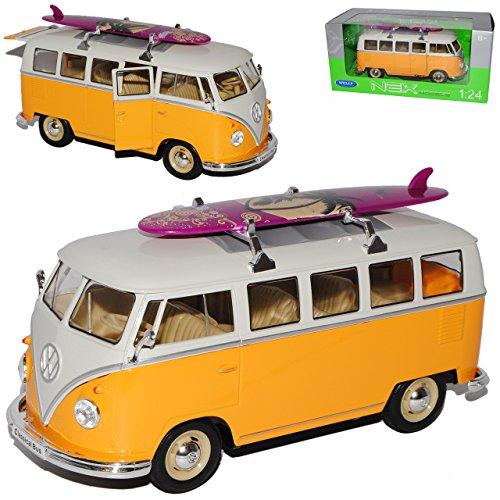Welly Volkwagen T1 Gelb Weiss mit Surfbrett Samba Bully Bus 1950-1967 1/24 Modell Auto