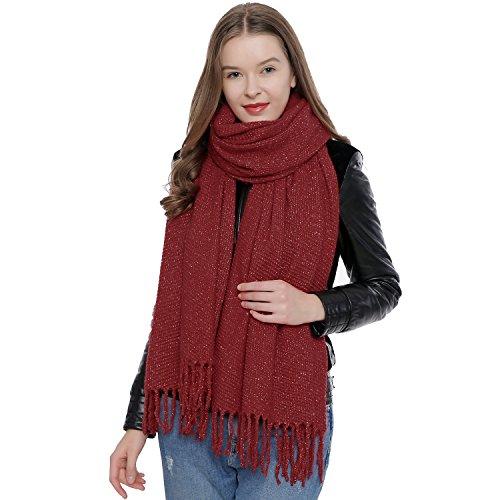 DonDon Sciarpa inverno morbida grande per donne Oversize XXL 190 x 60 cm - rosso scuro
