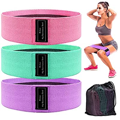 Cinlinso Resistance Bands for Legs and Butt, Non Slip Exercise Bands Workout Bands Resistance Loop Bands Booty Bands with Carry Bags for Physical Therapy, Stretching, Home Fitness, Set of 3