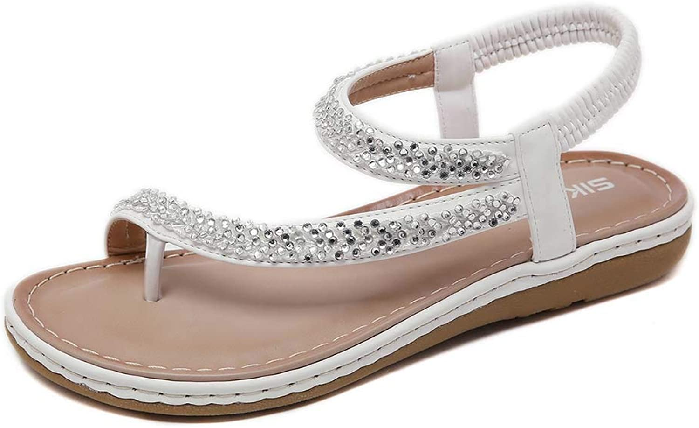 Women's PU Rhinestones Chains Elastic Strappy Flat Bohemia Sandals Summer Beach Wedding shoes,White,41