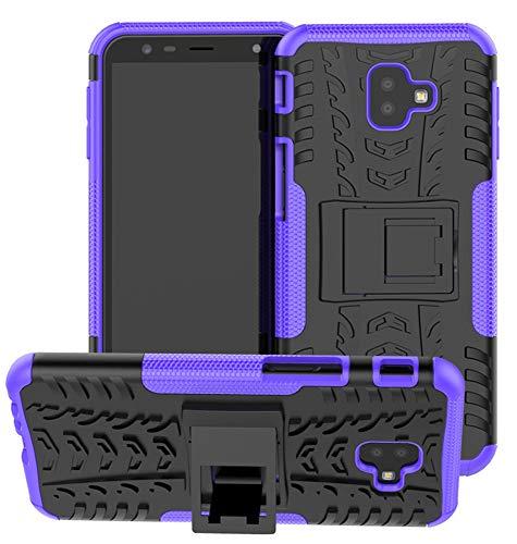 Yiakeng Funda Galaxy J6 Plus,Galaxy J4 Plus Carcasa, Silicona a Prueba de Choques Soltar Protector con Kickstand Case para Samsung Galaxy J6/J4 Plus (Púrpura)