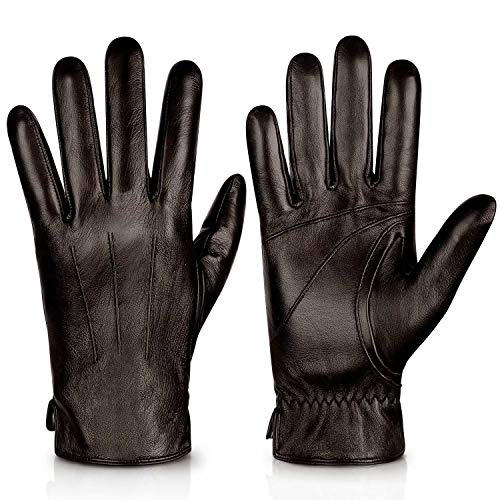 Genuine Sheepskin Leather Gloves For Men, Winter Warm Touchscreen Texting Cashmere Lined Driving Motorcycle Gloves By Alepo(Brown-S)