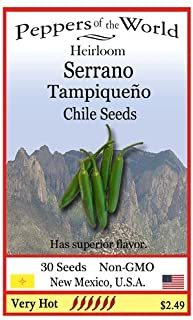 Heirloom Serrano Tampiqueno Chile Seeds - 30 Seeds - Very Hot!