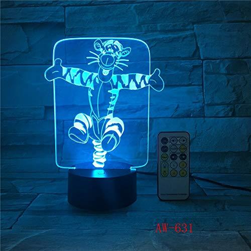 Jiushixw 3D acryl nachtlampje met afstandsbediening van kleur veranderende tafellamp AFFE tafel kind baby gadget AFFE eenvoudige houten tafellamp bedlampje