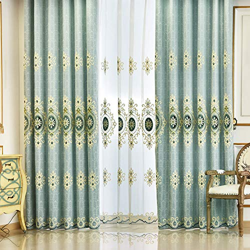 VOGOL Customized Simple Chenille Jacquard Blackout Window Elegance Curtains/Drapes/Panels/Treatments for Bedroom Living Room,Top Grommets, Two Panels, W54 x L96 inch