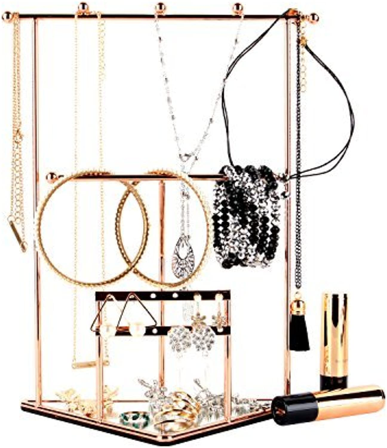 Moosy Life Geometric Triangle pink gold Jewelry Organizer, Necklace Stand with Mirror