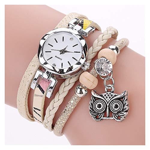 WYHM Reloj para Mujer Moda Muchachas de Las Mujeres del Reloj análogo de Cuarzo de la Pulsera del Colgante del Buho de Las señoras Vestido de Pulsera Reloj de los Relojes del relogio Feminino Preciso