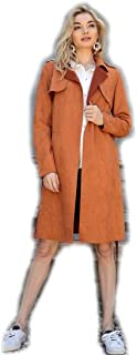 Crazy4Bling Solid Colored Rust Vegan Suede Midi Trench Coat Jacket, Small