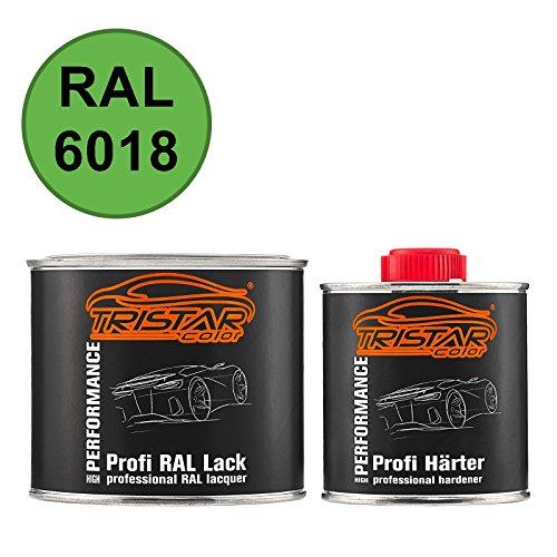 TRISTARcolor RAL 6018 Gelbgrün matt 2K Autolack 0,75 Liter / 750 ml Dose inkl. Härter