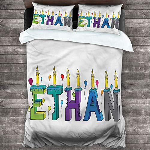 Bedspread Coverlet Set Ethan,Festive Candles Balloon 3-Piece Bedding Sets (1 Duvet Cover,2 Pillow Shams) with Zipper Closure & Corner Ties, Cal King 90'x90'