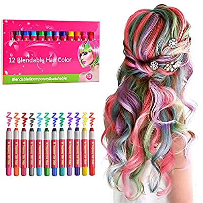 Hair Chalk for Girls Temporary Hair Color Dye for Kids,Non-toxic Washable Hair Coloring Products Gift for 7 8 9 10 13 16 Year Old Girl, 12 Colors DIY Kids Hair Dye Salon Set for Halloween Christmas