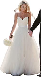 RrBoy Simple A Line Sweetheart Wedding Dresses Beaded Pleated Bridal Gowns