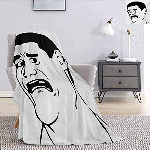 Luoiaax Humor Plush Blanket for Bed Couch Confused Man Meme with WTF Facial Gesture Caricature Style Comics Graphic Art Queen Size Blanket Soft Warm W70 x L70 Inch Black and White