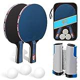 Juego de raquetas de ping pong de mesa con red, incluye 3 pelotas y 2...