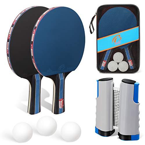 Racchette Ping Pong, GIKERSY Set da Ping Pong Professionale Tennis da Tavolo Racket Set, Racchetta + Palline+ Regolabile Rete per attività All'aperto al Coperto