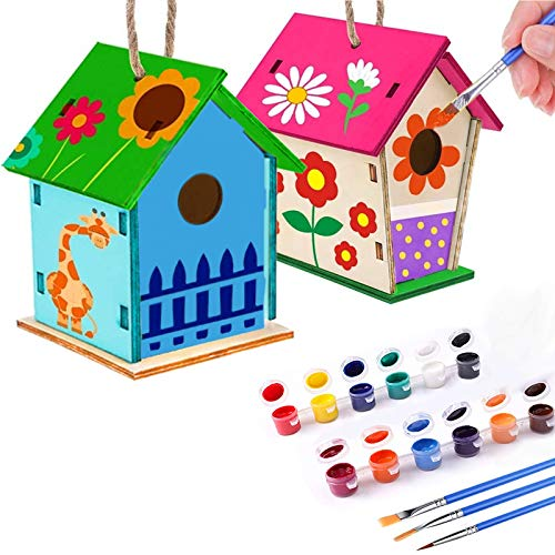 Nardoll Crafts for Kids Ages 4-8 - 2 Pack Bird House Kits for Children to Build and Paint (Includes Paints & Brushes) - Wooden Biredhouse Arts and Crafts for Girls Boys Toddlers Ages 3-5 6-8 8-12