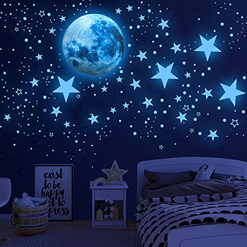 Glow in The Dark Stars for Ceiling,Glow in The Dark Stars and Moon Wall Decals, 1108 Pcs Ceiling...