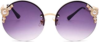 DovSnnx - DovSnnx Gafas De Sol Unisex para Hombres Y Mujers Polarizadas Protección 100% Uv400 Clásico Vintage Moda Sunglasses Sin Marco Perla Redonda Marco Dorado Lente Gris