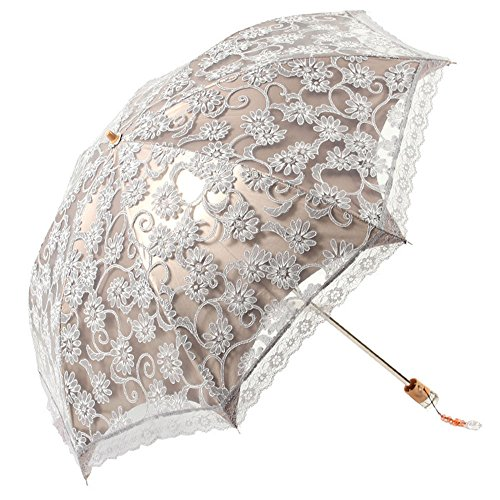 Mujeres señoras de las muchachas del cordón portátil plegable al aire libre Dos veces contra los rayos UV Sombrilla parasol con bolsa de almacenamiento gris