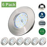 Spots LED Encastrables Kimjo 5W Blanc Neutre 4500K Ultra Plat IP44 Pour Salle de Bain, Plafonnier Encastré Étanche 500lm Equivalente de 50W Lampe de plafond 230V Non Dimmable Lot de 6