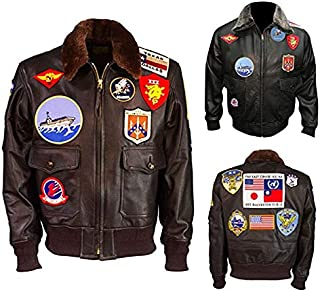 Men's Top Multiple Sticker Gun Hi-Quality Pilot Flying Brown & Black Shearling Fur Leather Jacket