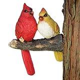 Bits and Pieces - Kardinäle Vögel Baumgucker - Gartendeko aus Kunstharz - Baumfigur Baumhänger Baumgesicht Baumdeko