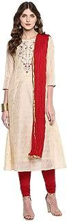 Imara Womens Round Neck Embroidered Churidar Suit