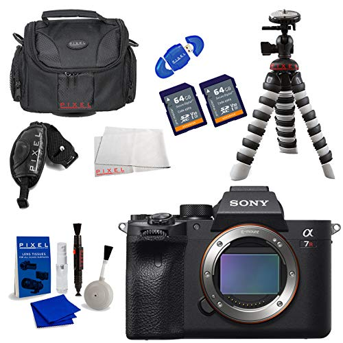Sony Alpha a7R IV Mirrorless Digital Camera (Body) with, 64GB Pro Memory Card, PRO TTL Flash, Headphones, Tripod, Camera Case Bundle