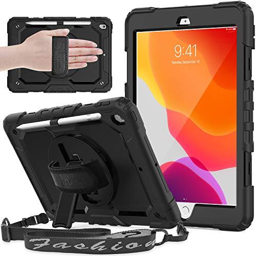 SEYMAC iPad 10.2 Hülle, iPad Hülle der 8./7. Generation 2020/2019 Freigegebene, stoßfeste Hochleistungs-iPad Hülle mit Schultergurt/Handschlaufe/Ständer/Bildschirmschutz für iPad 10,2 Zoll, Schwarz