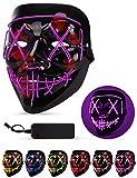 AnanBros Halloween Maske, LED Purge Maske im Dunkeln Leuchtend, Halloween Purge Maske 3 Beleuchtungsmodi für Kostümspiele Cosplays Feste und Partys - Violett