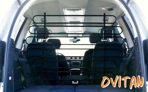OVITAN Hundegitter fürs Auto 12 Streben universal zur Befestigung an den Kopfstützen der Vordersitze - für alle Automarken geeignet - Modell: V12
