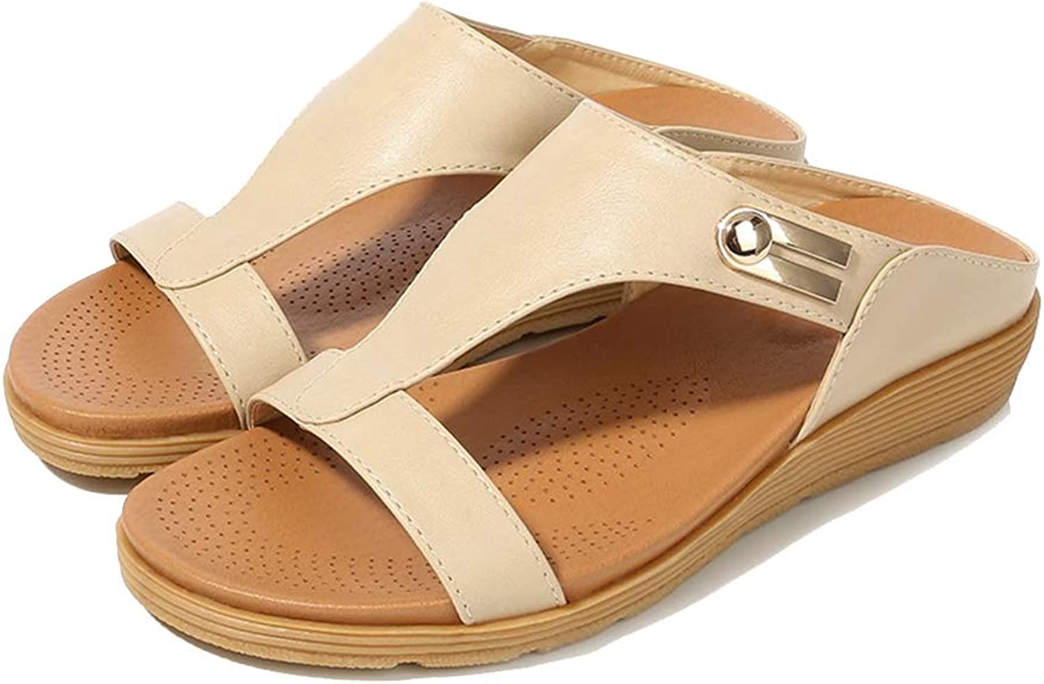 Women's Metal Buckle Round Head Sandals Open Toe Breathable Flat Sandals TPR Sole Non-Slip Wear Resistant Summer Indoor, Outdoor, Dress, Party