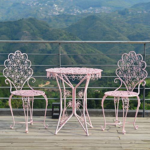 Juego de 3 piezas de combinación de mesa y silla para balcón de hierro forjado, juego de muebles de mesa de café para patio al aire libre con una mesa y dos sillas, mesa y silla de comedor de ocio