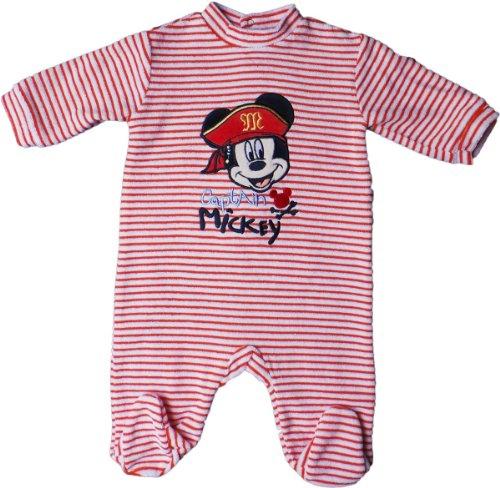 Disney Micky Maus Pyjama/Schlafanzug/Strampler - Captain Mickey - Orange/Weiß