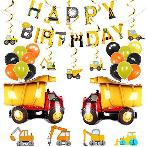 PHOGARY 1 Jahr Junge Geburtstagsdeko, BAU Luftballons Dekorationsset, Happy Birthday Girlande, Wirbel, Bagger Bulldozer Traktor Bagger Muster Tischdekoration für Kinder Geburtstagsfeier 2 3 5 10 Jahr