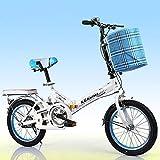 FJW Unisexo Bicicleta Plegable de suspensión 16 Pulgadas 20 Pulgadas Cubo de Rueda de aleación de Aluminio Estudiante Niño Ciudad del Viajero Acero de Alto Carbono Bicicleta,White,16Inch