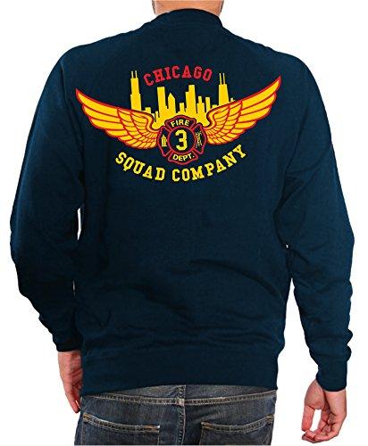 feuer1 Sweatshirt Navy, Chicago Fire Dept.-Squad 3 Eagle Wings Skyline