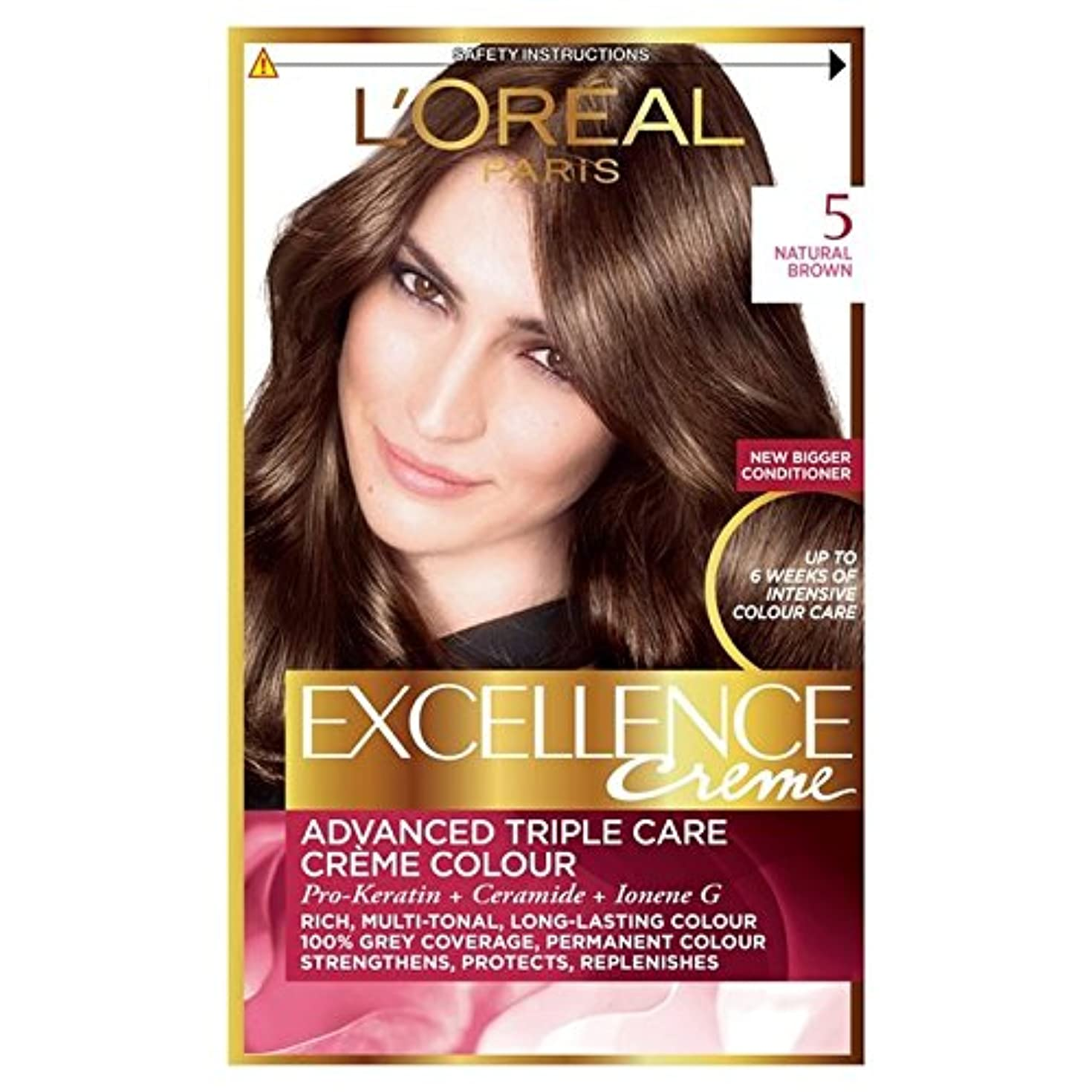騒乱高揚したストリップロレアルの優秀さ - ナチュラルブラウン x4 - L'Oreal Excellence - Natural Brown (Pack of 4) [並行輸入品]