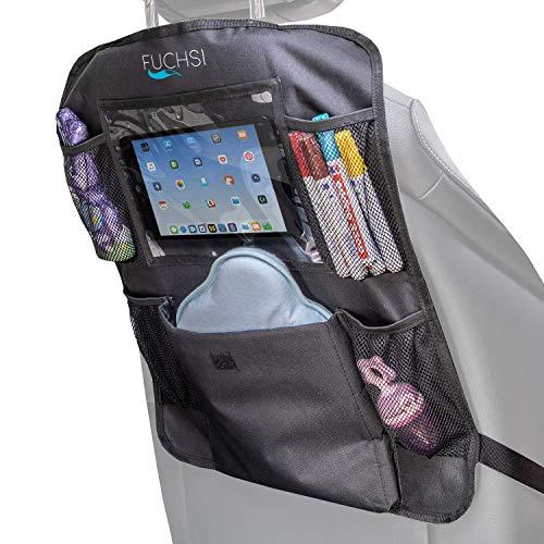 2 STÜCK - FUCHSI Rücksitz Organizer für Kinder mit iPad- / Tablet-Fach   Rückenlehnen Schutz   Autositzschoner Rückenlehnenschutz Auto Trittschutz Rücksitztasche wasserdicht   universelle Passform